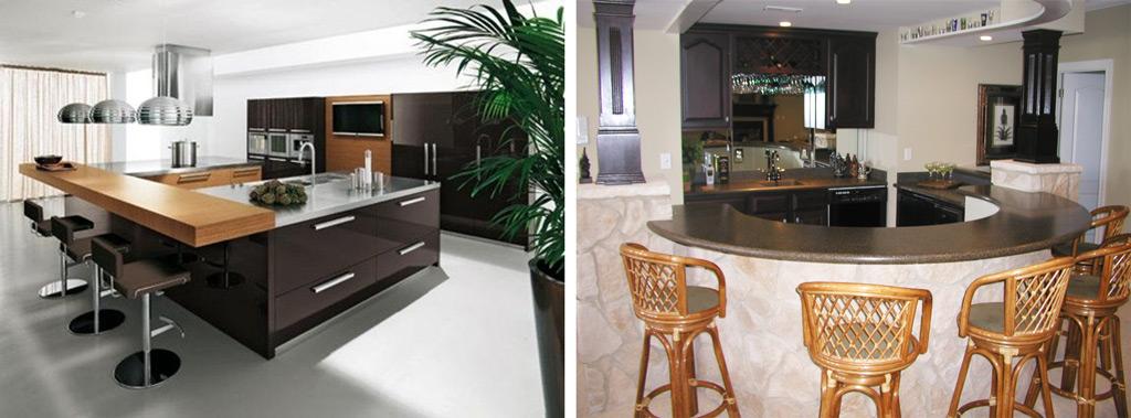 Островные кухни с барными стойками в квартирах-студиях
