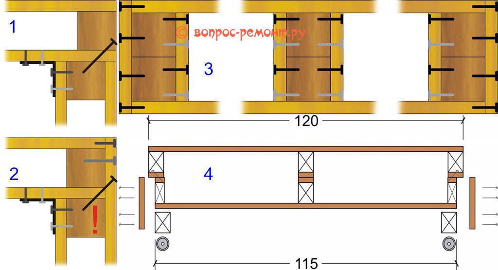 Соединение сборочных узлов мебели из поддонов