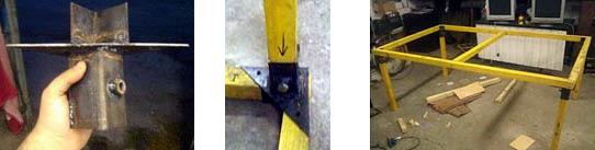 Конструкция основы теннисного стола на стальных соединителях