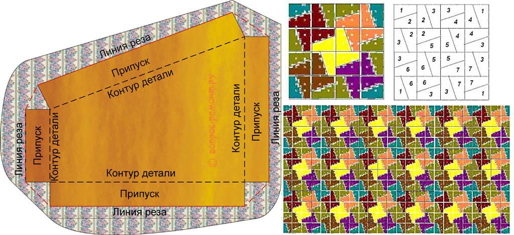 Схема 7-цветного лоскутного одеяла в стиле флик-фляк и шаблон для нарезки лоскутов к нему