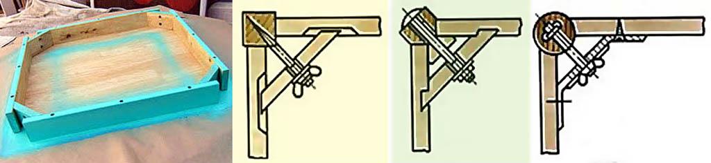 Сборка столешницы заодно с царгами стола с отъемными ножками