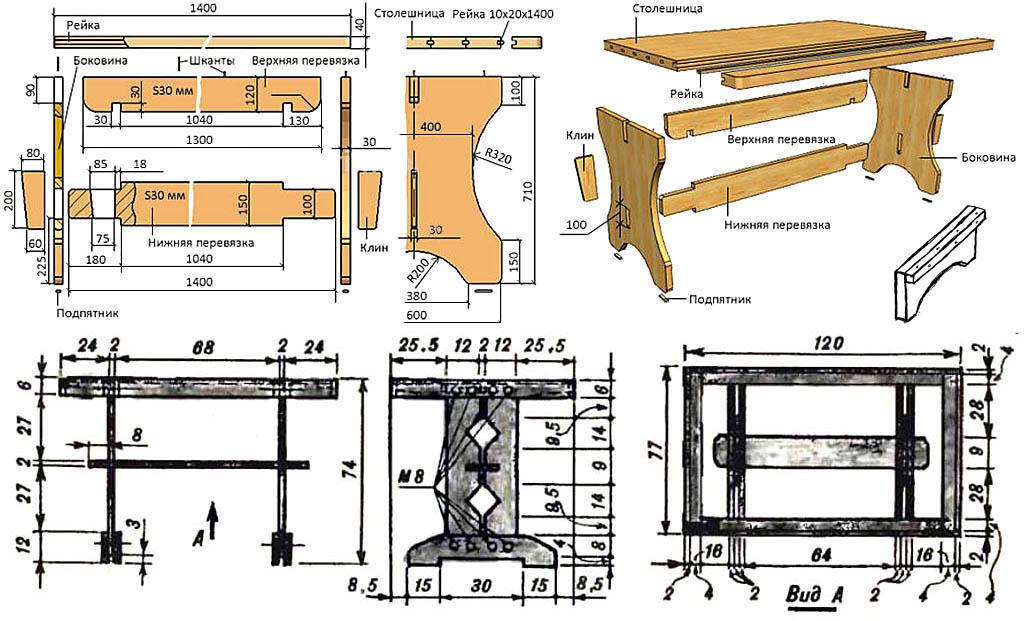 Чертежи кухонных столов в деревенском стиле