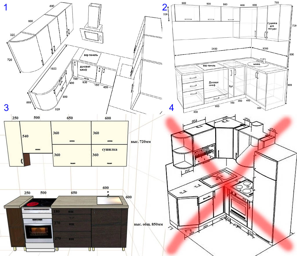 Чертежи кухонных гарнитуров
