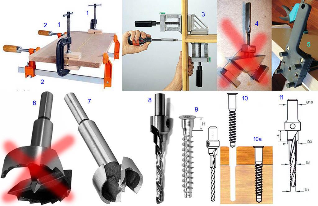 Инструмент, приспособления и крепеж для сборки кухонного гарнитура