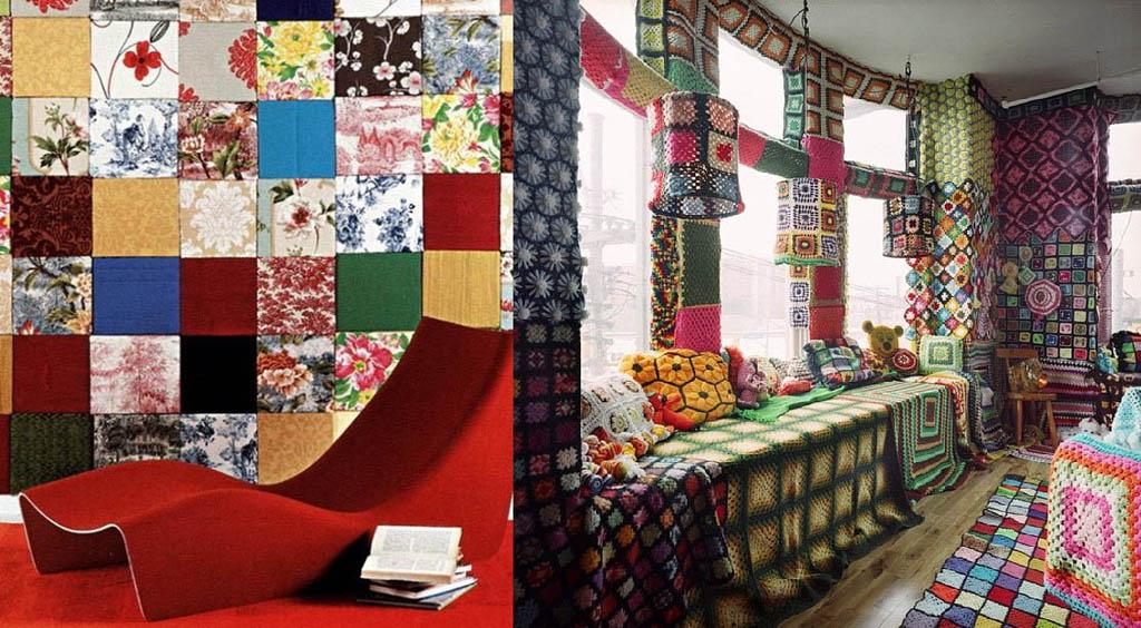Декор стен текстилем и вязанием