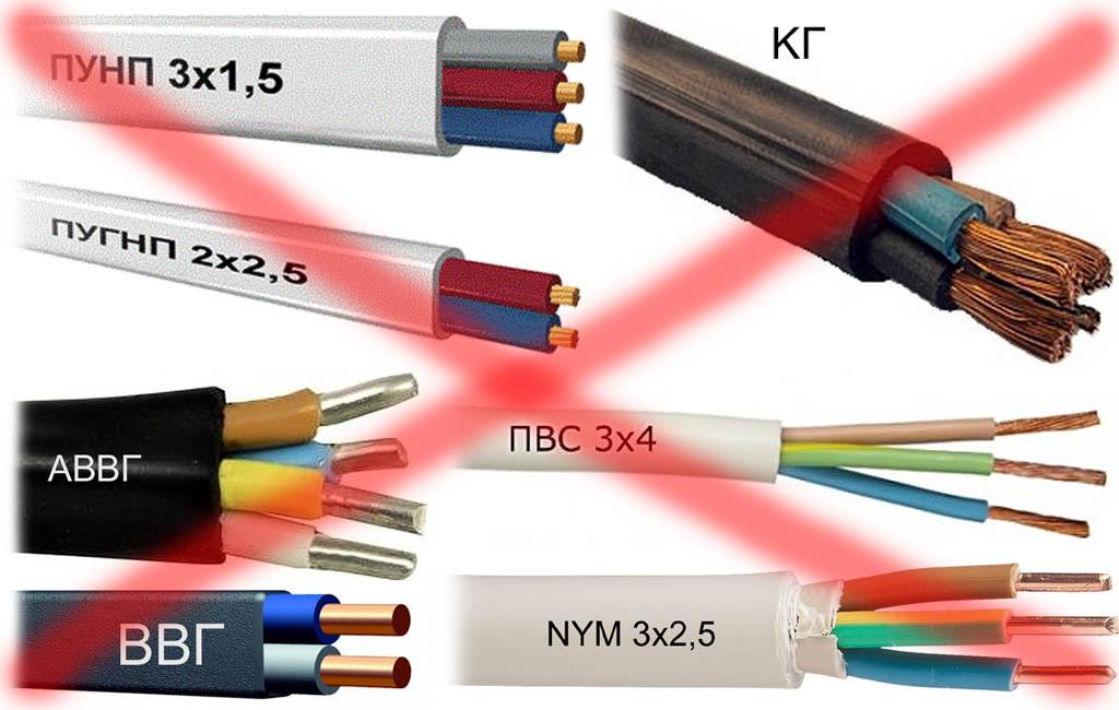 Небронированные провода, непригодные для укладки в землю