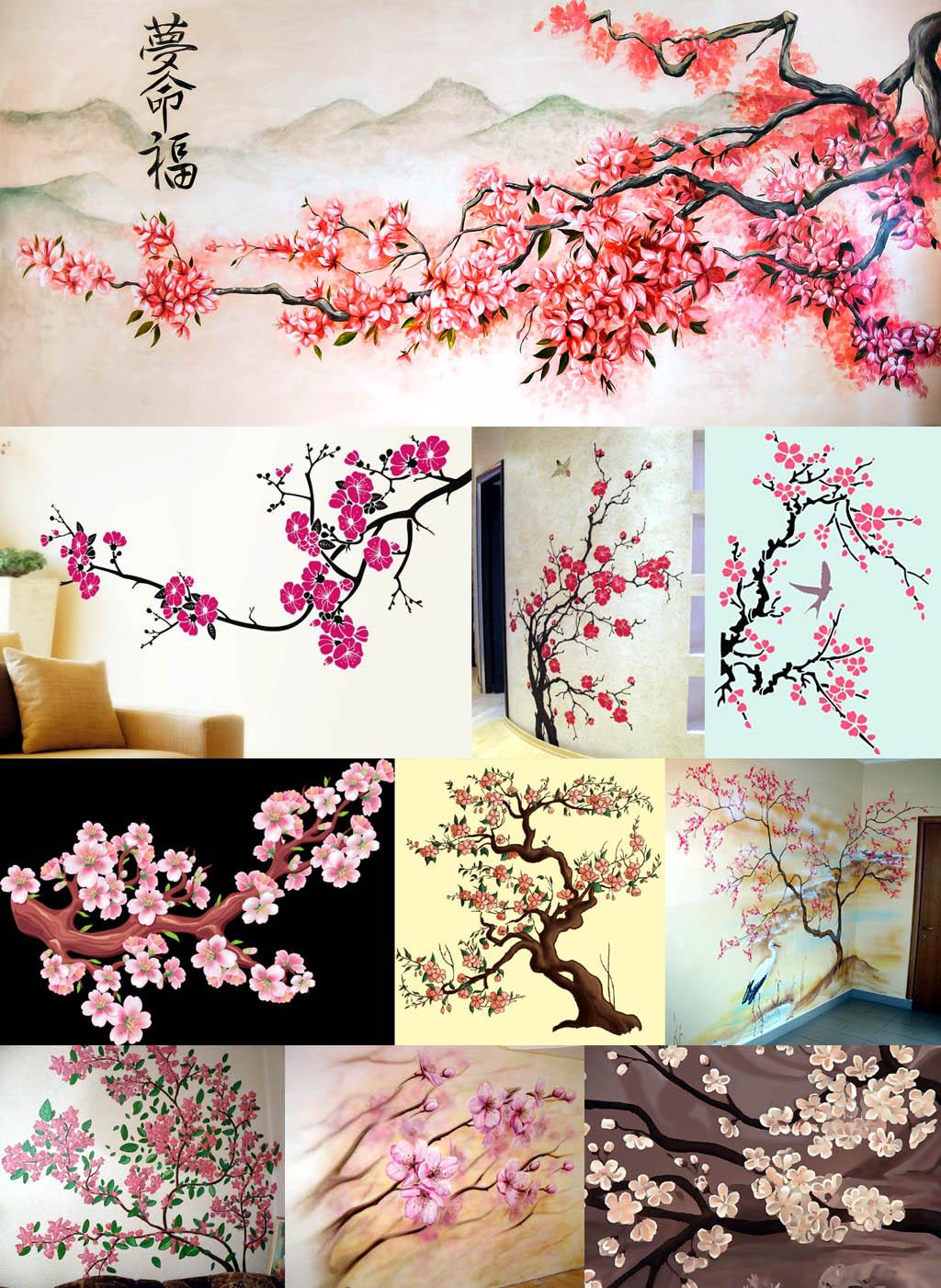 Изображения сакуры на стенах в разной манере и техниках