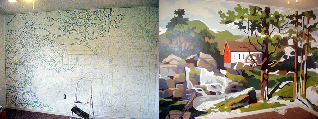 Рисунок на стене, созданный переносом по сетке