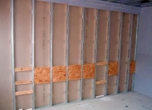 Закладные детали в каркасе под гипсокартон для подвешивания мебели и бытовой техники