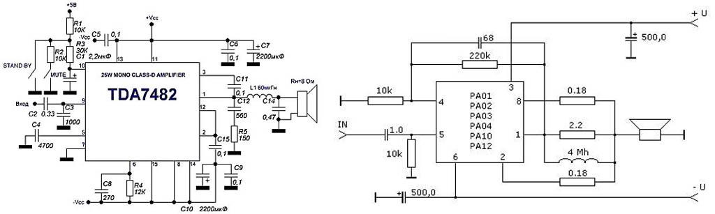 Импульсные звуковые усилители класса D на микросхемах