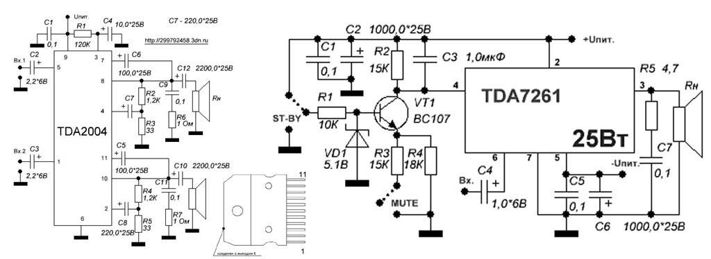 Звуковые усилители на микросхемах TDA