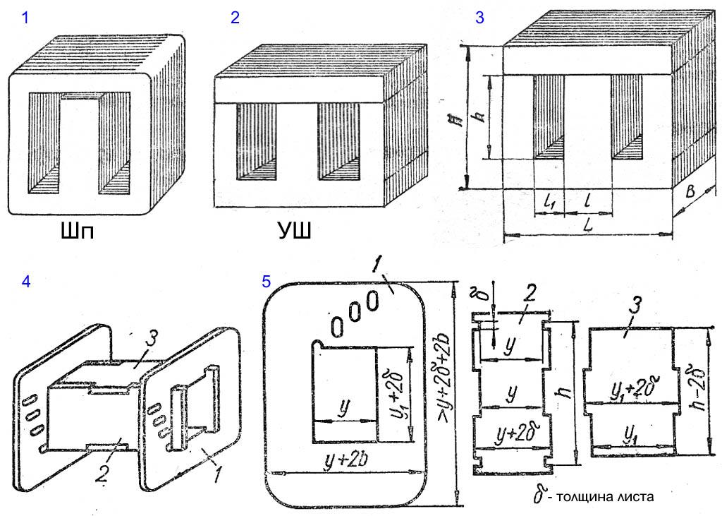 Магнитопроводы и каркас обмоток звуковых трансформаторов