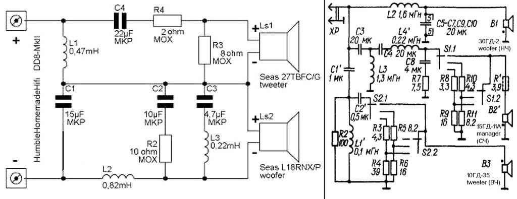 Схемы разделительных фильтров для 2-полосной и 3-полосной акустических систем