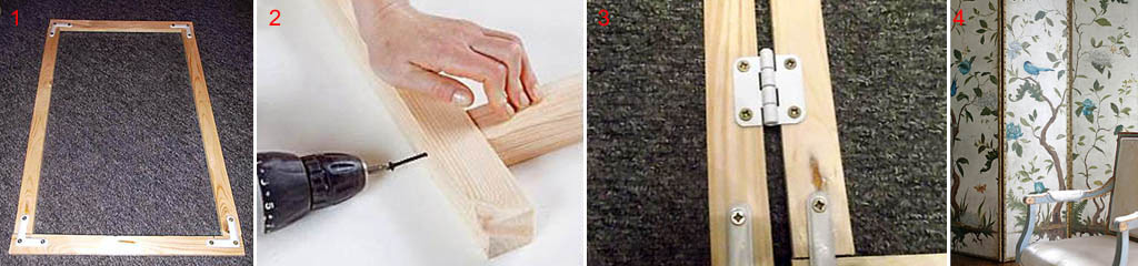 Способы соединения деталей и створок ширмы