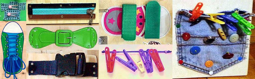 Элементы бизиборда для развития навыков обращения с одеждой и обувью
