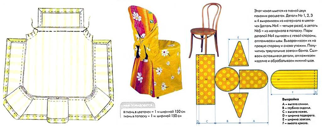 Выкройки чехлов для стульев со скругленными углами сиденья и венского с круглым сиденьем и спинкой