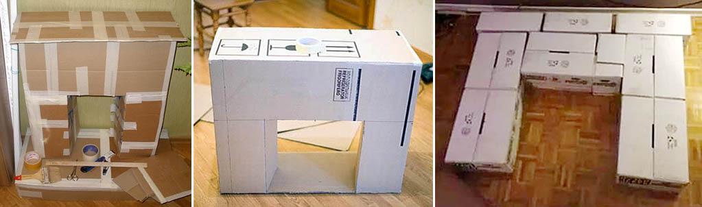 Как правильно склеить основу камина из коробок