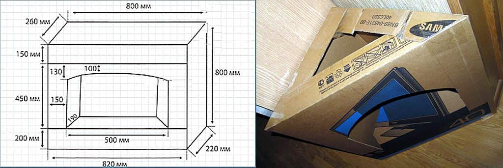 Картонный камин из одной коробки