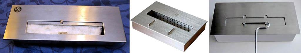 Неправильные и правильная (справа) конструкции заслонок горелок для биокаминов