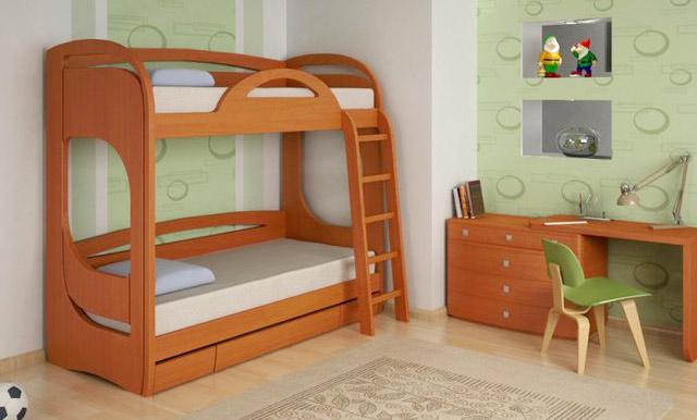 Двухъярусная кровать из ЛДСП в интерьере