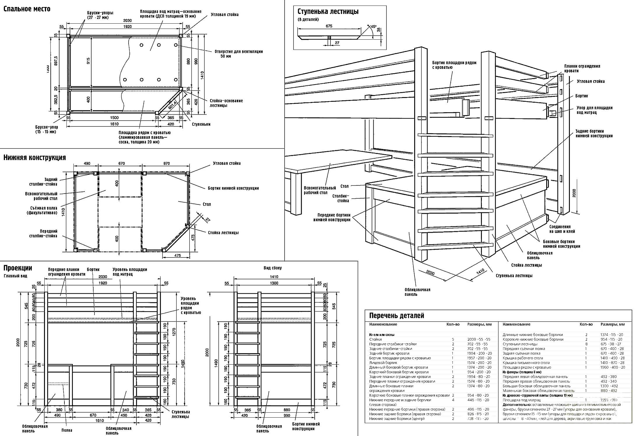 Чертежи многофункциональной двухъярусной кровати со взрослым спальным местом наверху