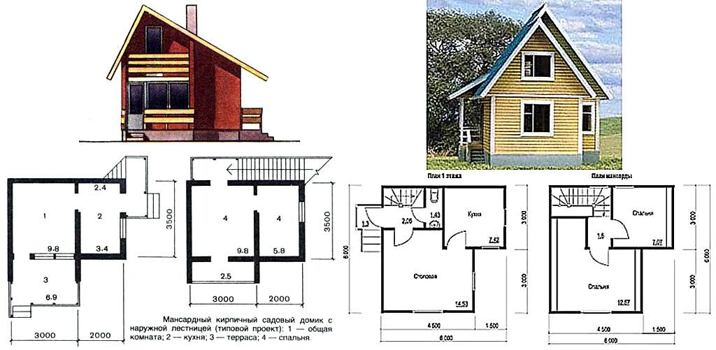 Внешний вид и планировка 2-этажных малогабаритных дачных домов из кирпича и бруса