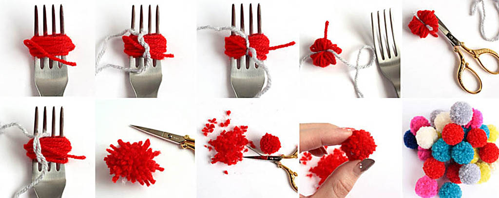 kak-delat-melkie-pompony-na-stolovoj-vilke- Как сделать плед из помпонов своими руками