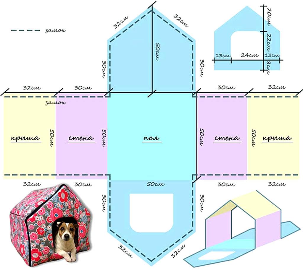 Чертежи лежанки-домика для собаки из картона