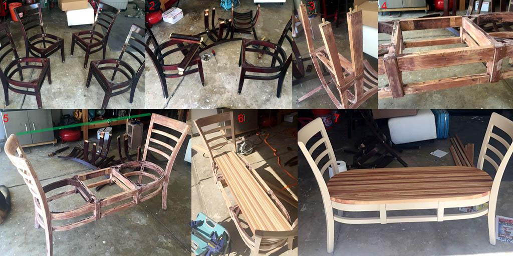 Как сделать лавочку из четырех старых стульев
