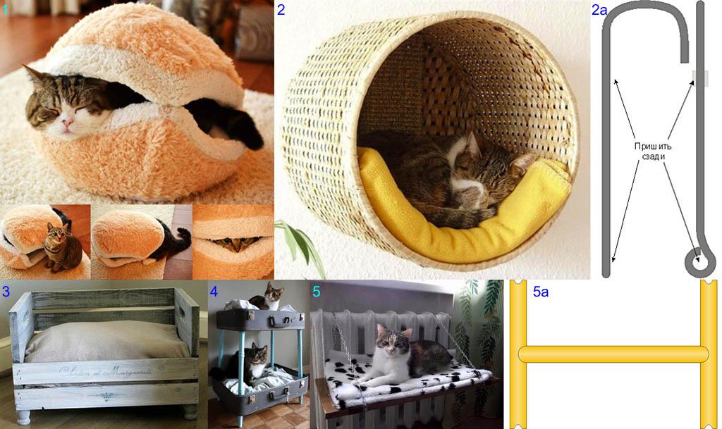 Лежанки для кошек из поручных материалов