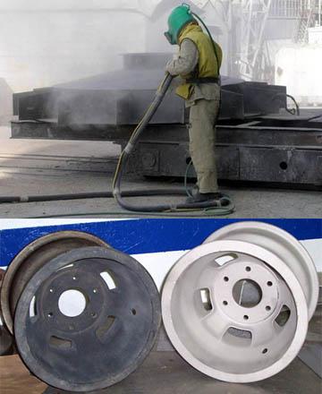 Процесс и результат пескоструйной обработки