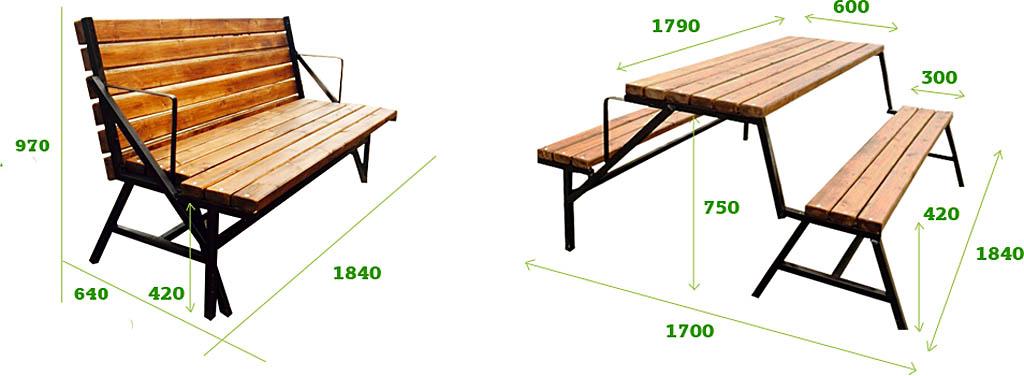 Устройство и размеры садовой лавки-трансформера