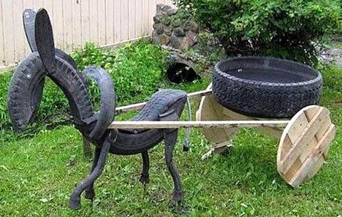 Как сделать лошадку или ослика из шины