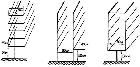 Конструкции и размеры двухплоскостных вертикальных шпалер для винограда