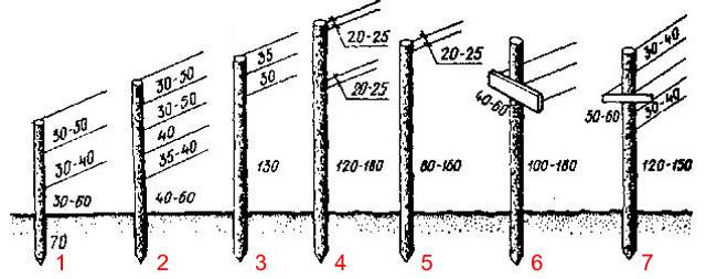 Конструкции и размеры вертикальных одноплоскостных шпалер для морозостойких и зимостойких сортов винограда