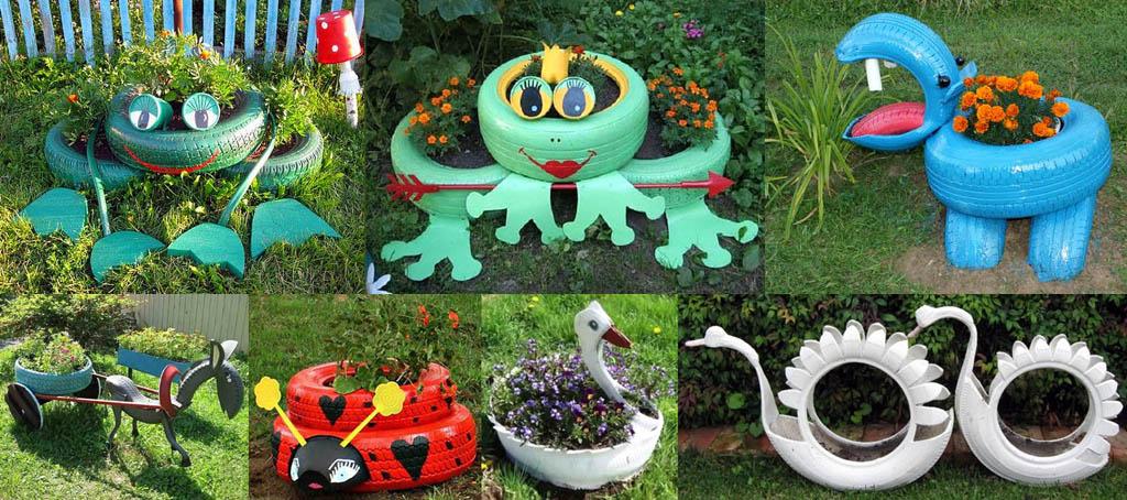 Примеры декоративных фигур из шин для клумб