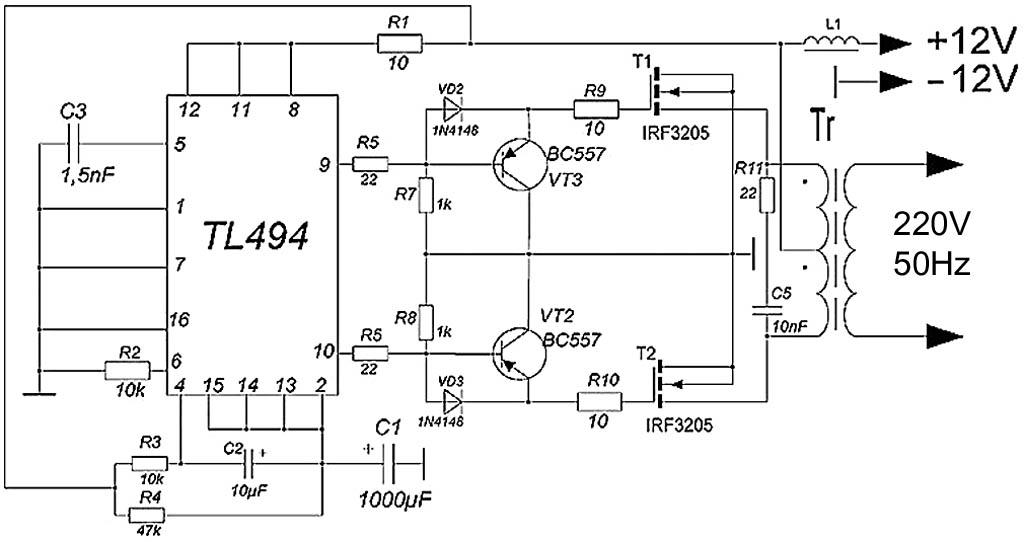Схема усовершенствованногопреобразователя 12-200 В 50 Гц