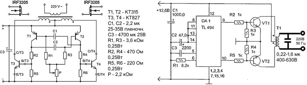 Схемы преобразователей напряжения 12-220 В 50 Гц на 500-1000 Вт