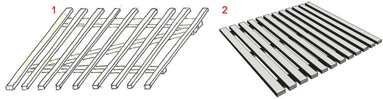 Ходильные трапы для душа из деревянных реек и древесно-полимерного композита (ДПК, декинга)