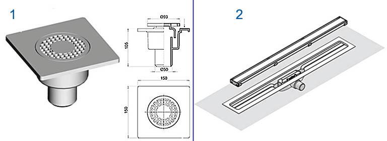 Конструкции круглого и линейного щелевых трапов для душевых кабин