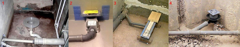 Неправильное и правильное выполнение отвода стока из душевой кабины