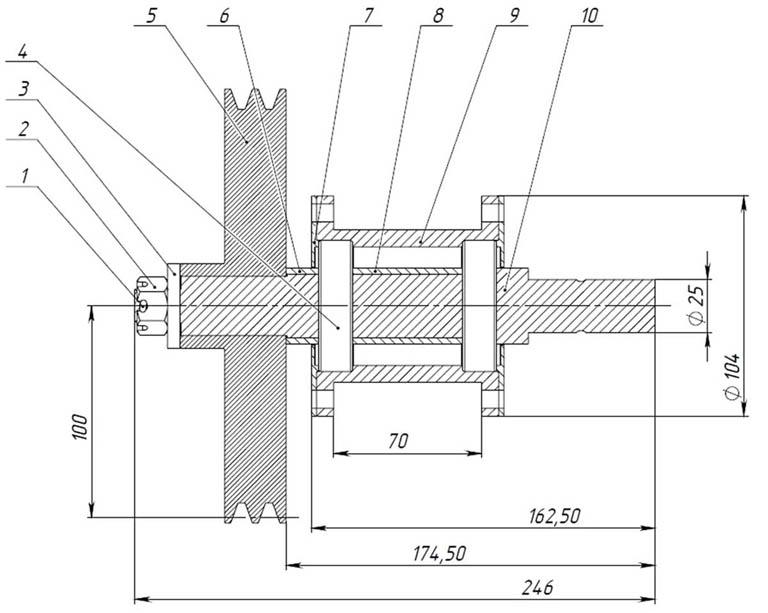 Сборочный чертеж опорной конструкции ведущего вала винтового дровокола