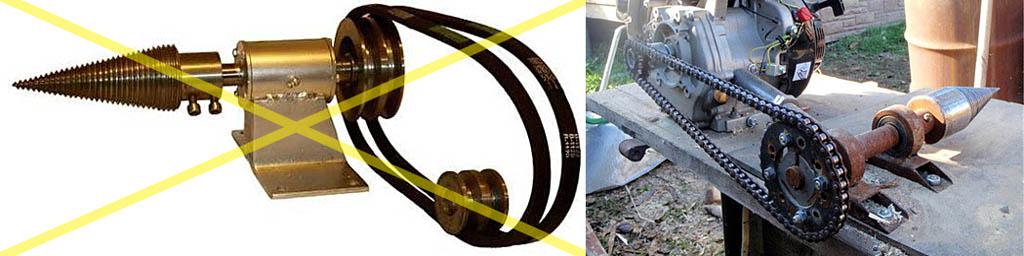 Варианты выполнения привода винтового дровокола