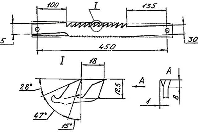 Чертеж, профиль зубьев и схема разводки продольной пилы по дереву