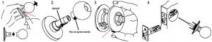 Разборка и монтаж замка в круглом корпусе для межкомнатной двери