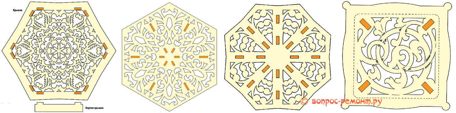 Схемы узоров крышек шкатулок из фанеры