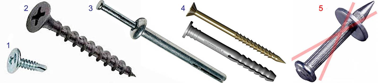 Метизные изделия для скрепления короба из гипсокартона