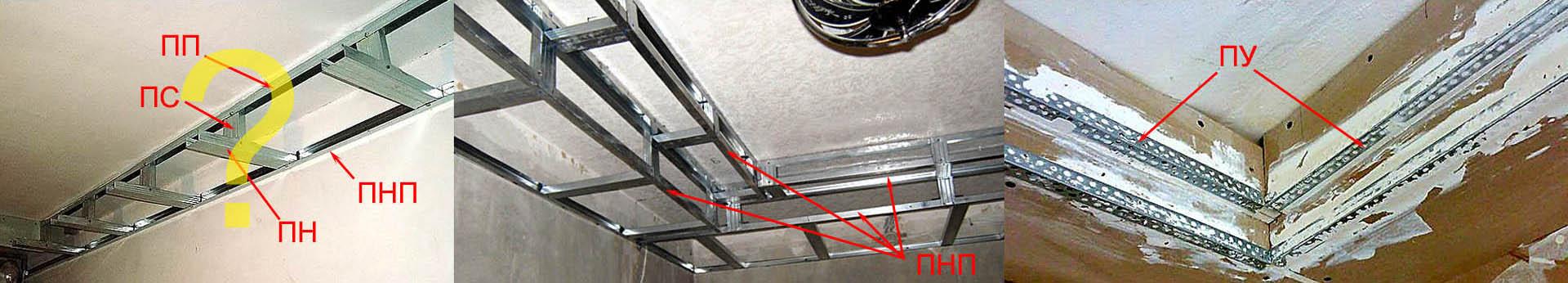 Примеры использования металлопрофилей в каркасах конструкций из гипсокартона