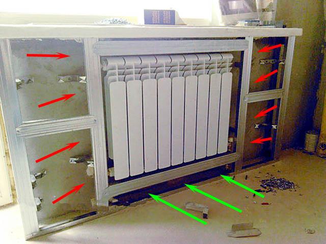 Устройство каркаса короба из гипсокартона для батареи отопления
