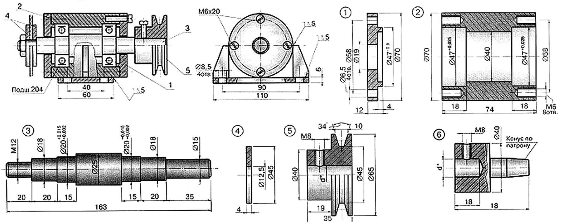 Чертежи пошипникового узла для циркулярной пилы или передней бабки токарного станка по дереву